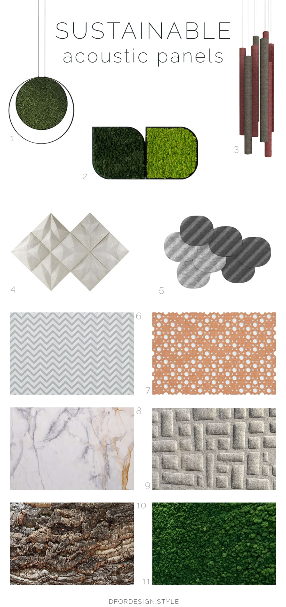 "Sustainable design moodboard showing a selection of acoustic panels.<span class=""sr-only""> (opened in a new window/tab)</span>"