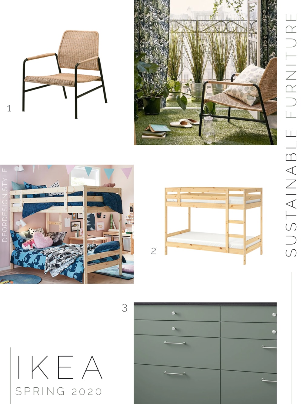 """Moodboard showing sustainable furniture launched in IKEA spring catalogue 2020.<span class=""""sr-only""""> (opened in a new window/tab)</span>"""