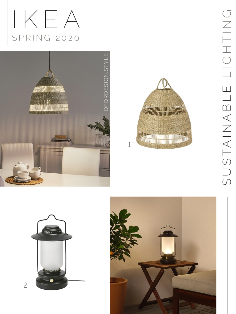 """Moodboard showing sustainable lighting launched in IKEA spring catalogue 2020.<span class=""""sr-only""""> (opened in a new window/tab)</span>"""