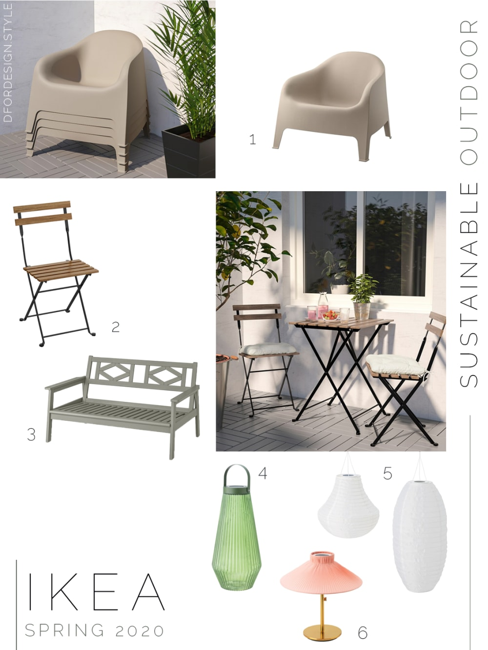 """Moodboard showing sustainable outdoor furnishings launched in IKEA spring catalogue 2020.<span class=""""sr-only""""> (opened in a new window/tab)</span>"""