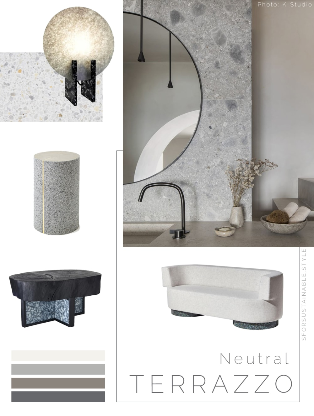 "Moodboard showing a variety of sustainable furniture & accessories with a terrazzo finish & a neutral colour.<span class=""sr-only""> (opened in a new window/tab)</span>"