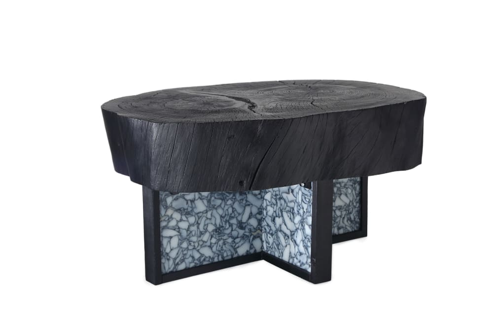 "Black coffee table with recycled plastic base and solid wood top.<span class=""sr-only""> (opened in a new window/tab)</span>"
