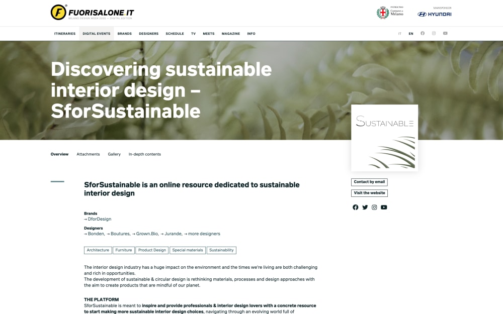 "Screenshot of SforSustainable event page on Fuorisalone.<span class=""sr-only""> (opened in a new window/tab)</span>"