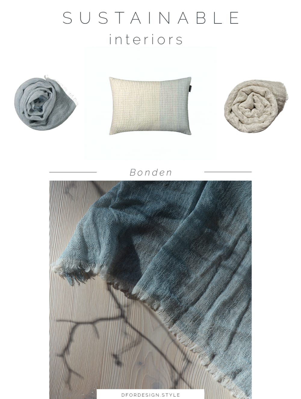 "Moodboard showing some of Bonden's new products: a cushion and 2 blankets.<span class=""sr-only""> (opened in a new window/tab)</span>"