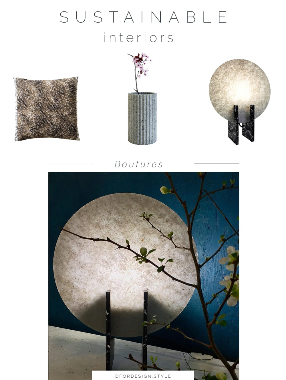 "Moodboard showing some of Boutures's products: a cushion, a vase and a table lamp.<span class=""sr-only""> (opened in a new window/tab)</span>"