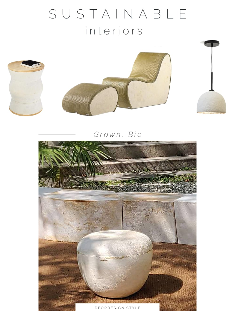 "Moodboard showing some of Grown.Bio's products: a side table, an armchair, a pendant lamp.<span class=""sr-only""> (opened in a new window/tab)</span>"