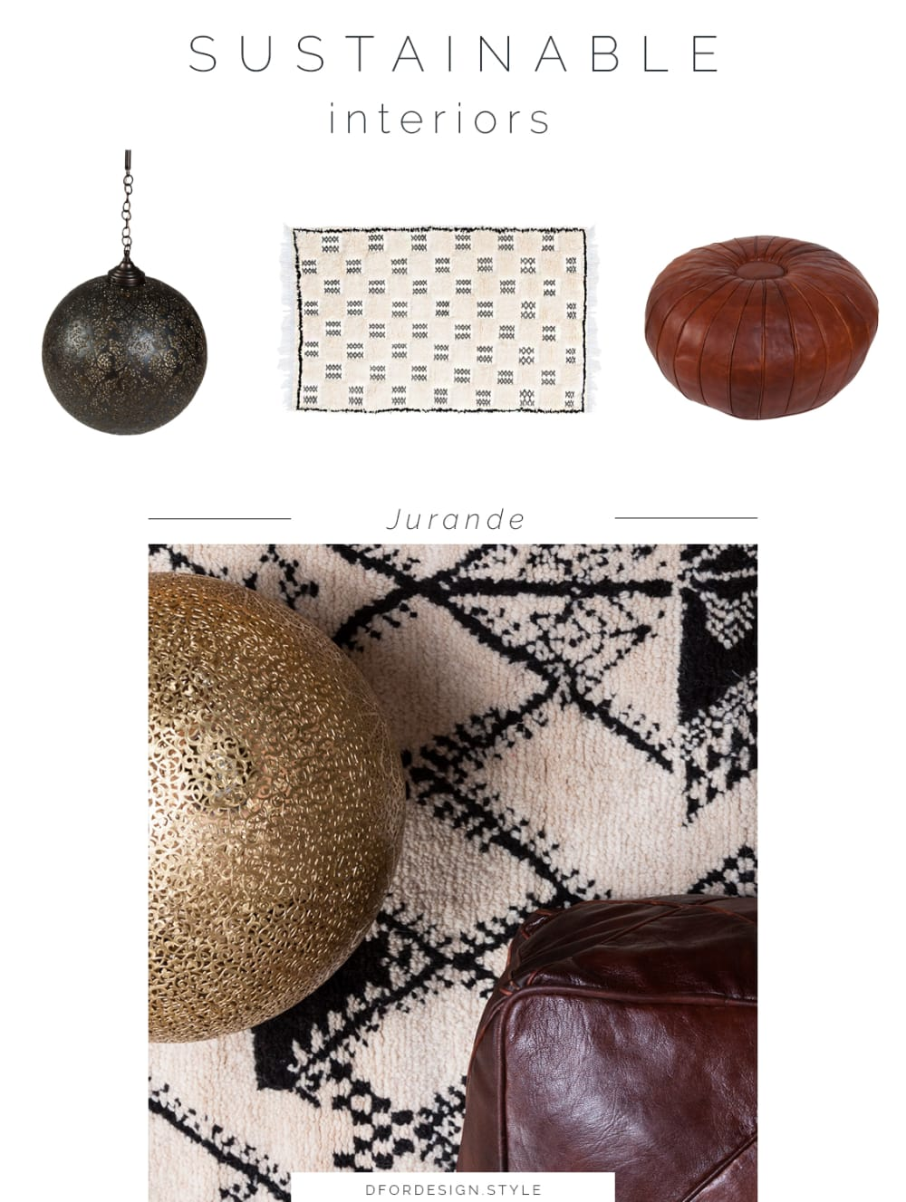 "Moodboard showing some of Jurande's products: a pendant lamp, a rug, a pouf.<span class=""sr-only""> (opened in a new window/tab)</span>"