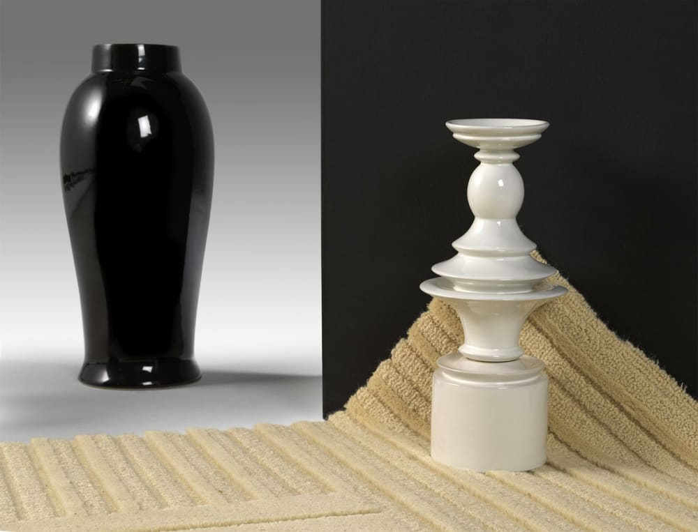 """A Robotuft rug styled with huge vases.<span class=""""sr-only""""> (opened in a new window/tab)</span>"""