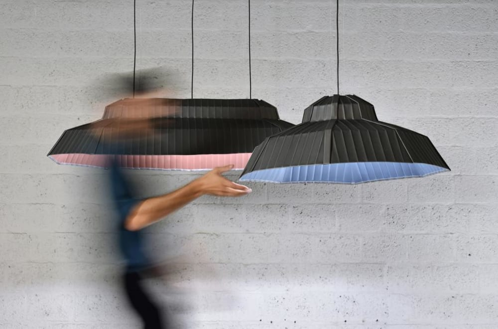 """Lampshades recalling the shape of a roof and covered in zinc.<span class=""""sr-only""""> (opened in a new window/tab)</span>"""