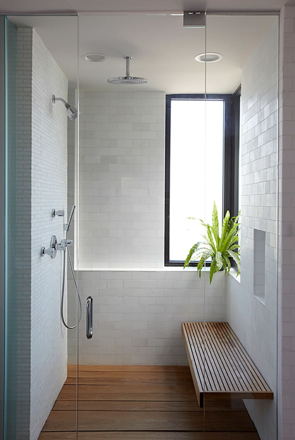 """Walk-in shower, great option to create a refuge area in a biophilic design.<span class=""""sr-only""""> (opened in a new window/tab)</span>"""