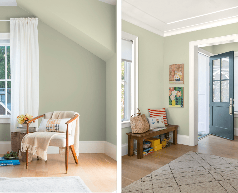 "A living room and an entryway. All walls are painted in Bahia Grass (2018 colour of the year by Kelly Moore Paints). The rustic wooden seats, together with the colourful art pieces and the cushions set a rustic and playful style for both spaces.<span class=""sr-only""> (opened in a new window/tab)</span>"