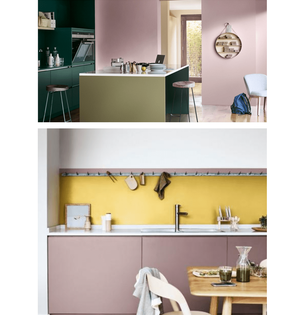 "Two kitchens. 1: deep green cabinets and walls painted in Heart Wood (2018 colour of the year by Akzo Nobel). 2: Heart Wood cabinets and yellow backsplash.<span class=""sr-only""> (opened in a new window/tab)</span>"
