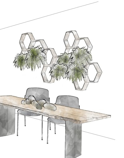"""Biophilic dining room concept design.<span class=""""sr-only""""> (opened in a new window/tab)</span>"""
