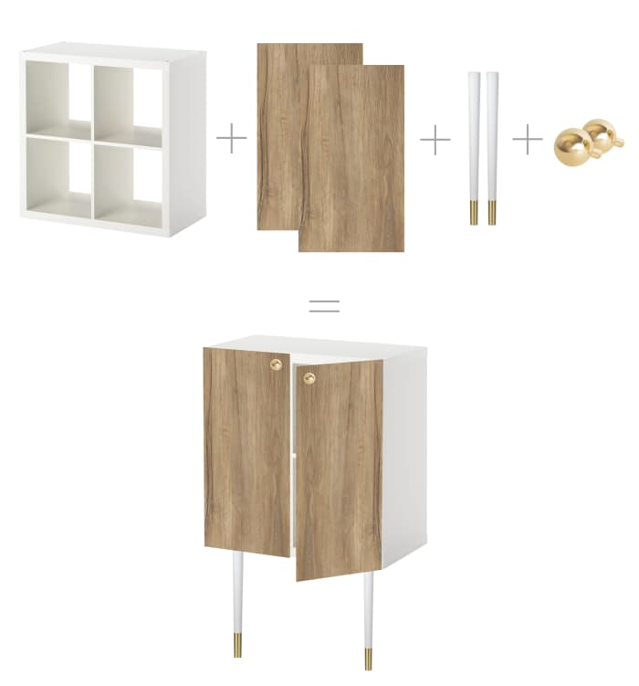 DIY IKEA hack with a Kallax shelving becoming a trendy closed cabinet.