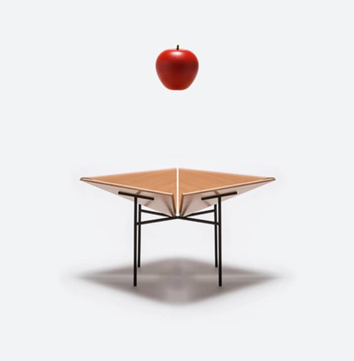"Fruit bowl no.11, a minimalist container by Danese Milano, made of a wooden bowl and thin metal legs.<span class=""sr-only""> (opened in a new window/tab)</span>"