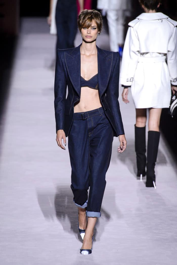 Dark denim ladies' suit, by Tom Ford.