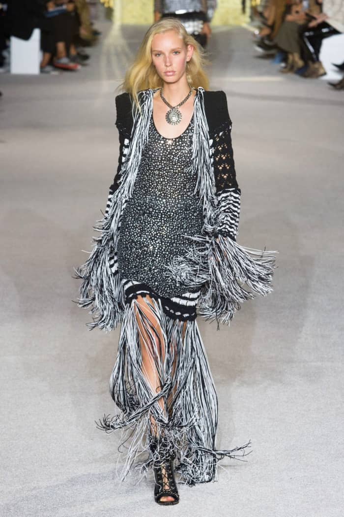 Fringed dress and jacket, by Balmain.