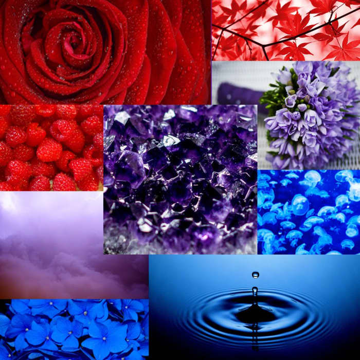 Mood board with red, blue and purple pictures to depict the relation between these colours.