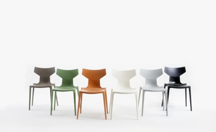 Bio chair, made of an innovative plastic biopolymer, comes in 6 different colours