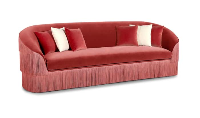 "Velvet sofa with fringes on the back and sides, by Munna.<span class=""sr-only""> (opened in a new window/tab)</span>"