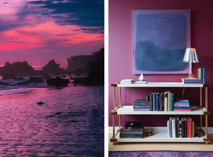 Uses of violet and blue in nature and in interiors. Nature: sunset on the sea. Interior: piece of art in the tones of violet and blue on a purple wall. Against the wall is a white and gold low bookshelf. Uses of violet and blue in nature and in interiors. Nature: sunset on the sea. Interior: piece of art in the tones of violet and blue on a purple wall. Against the wall is a white and gold low bookshelf.