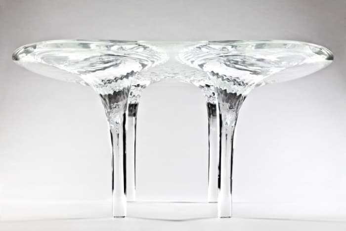 "Liquid Glacial table, by Zaha Hadid.<span class=""sr-only""> (opened in a new window/tab)</span>"