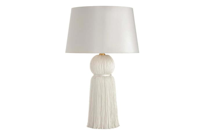 Ivory table lamp with tassel base, by Mecox.
