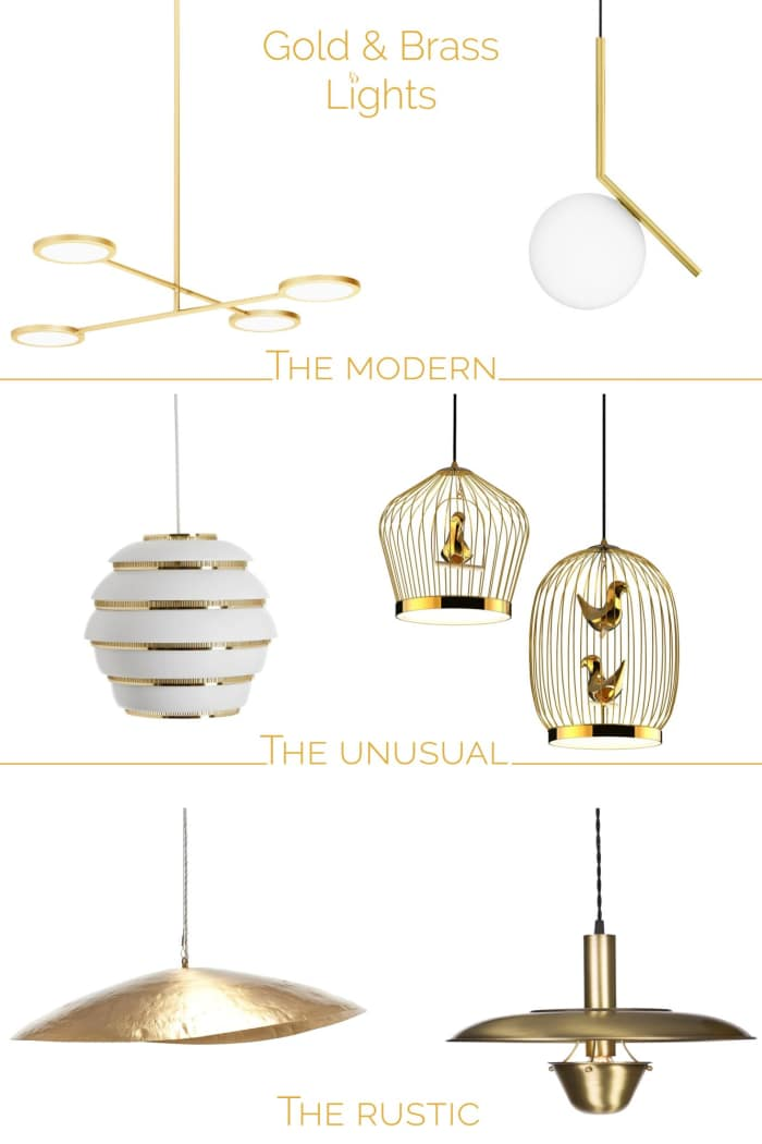 """Mood board with a selection of gold pendants lights.<span class=""""sr-only""""> (opened in a new window/tab)</span>"""