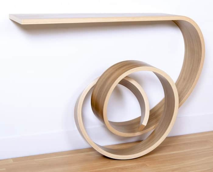Console table with knot leg, by Kino Guerin.
