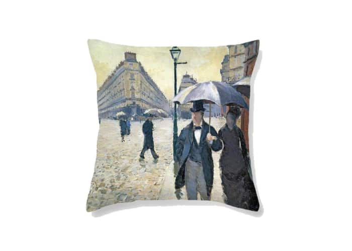 "Cushion printed with a detail of the painting of Gustave Caillebotte ""Paris Street Rainy Day"", by Fine Art America.<span class=""sr-only""> (opened in a new window/tab)</span>"
