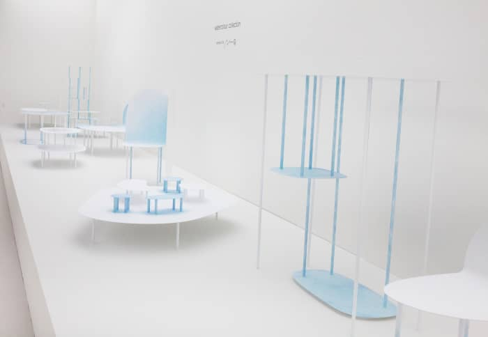 "View of some pieces from the Watercolour Collection presented at Design Miami/ Basel by Nendo<span class=""sr-only""> (opened in a new window/tab)</span>"