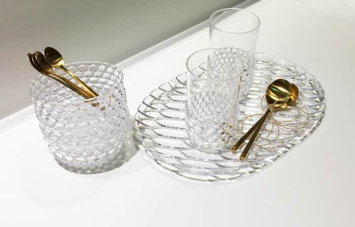 """An elegant yet portable way to embrace the gold kitchen trend. Gold spoons with clear textured glass dishes.<span class=""""sr-only""""> (opened in a new window/tab)</span>"""