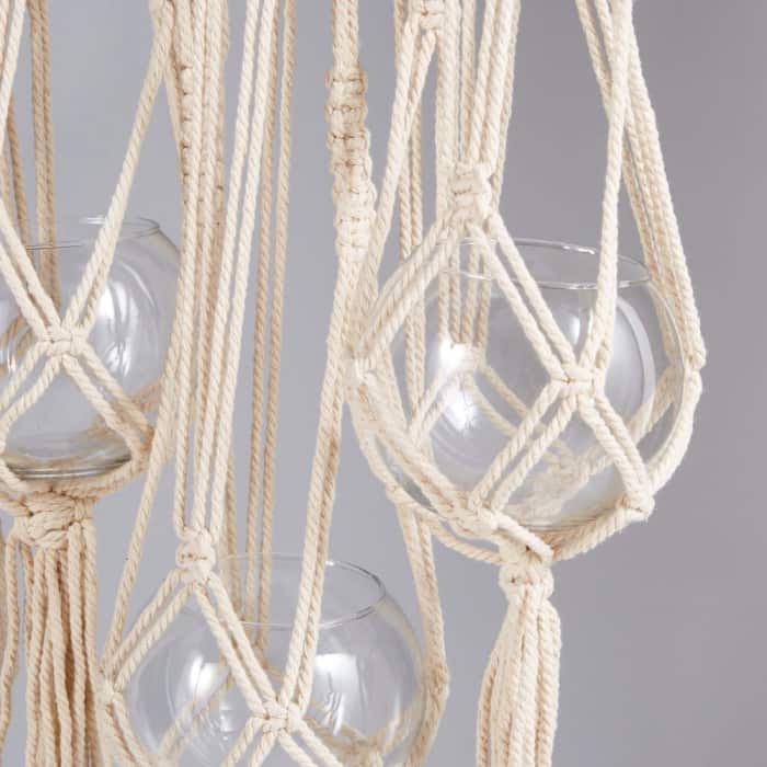 Close-up of the hanging macramé.