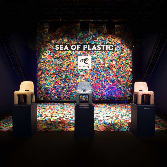 Sea of Plastic installation displaying how fragments of plastic waste can become furniture and accessories.