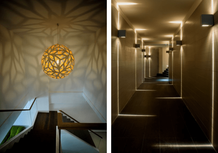 Two examples of ceilings decorated with shadows. 1: Rounded pendant light casting flower-shaped shadows onto the ceiling. 2: Corridor with geometric lights and shadows design. Two examples of ceilings decorated with shadows. 1: Rounded pendant light casting flower-shaped shadows onto the ceiling. 2: Corridor with geometric lights and shadows design.