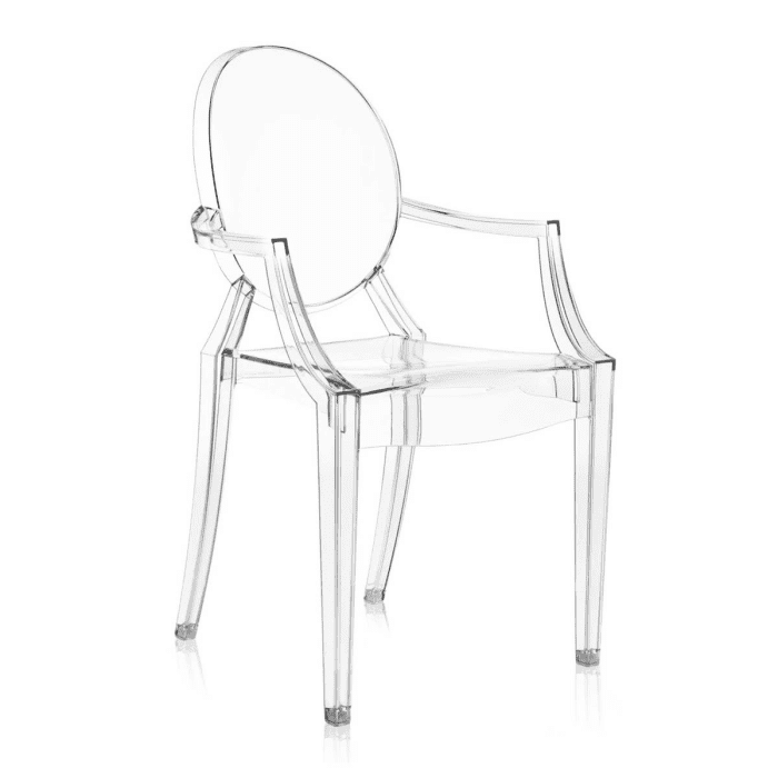 "Louis Ghost chair, by Kartell.<span class=""sr-only""> (opened in a new window/tab)</span>"