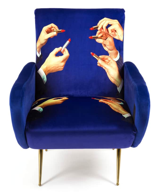 "Lipstick armchair, by Seletti.<span class=""sr-only""> (opened in a new window/tab)</span>"