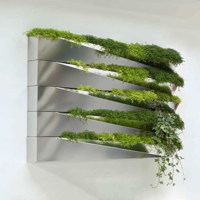 Mirror hanging planter. Growing, the plants create a waterfall effect.