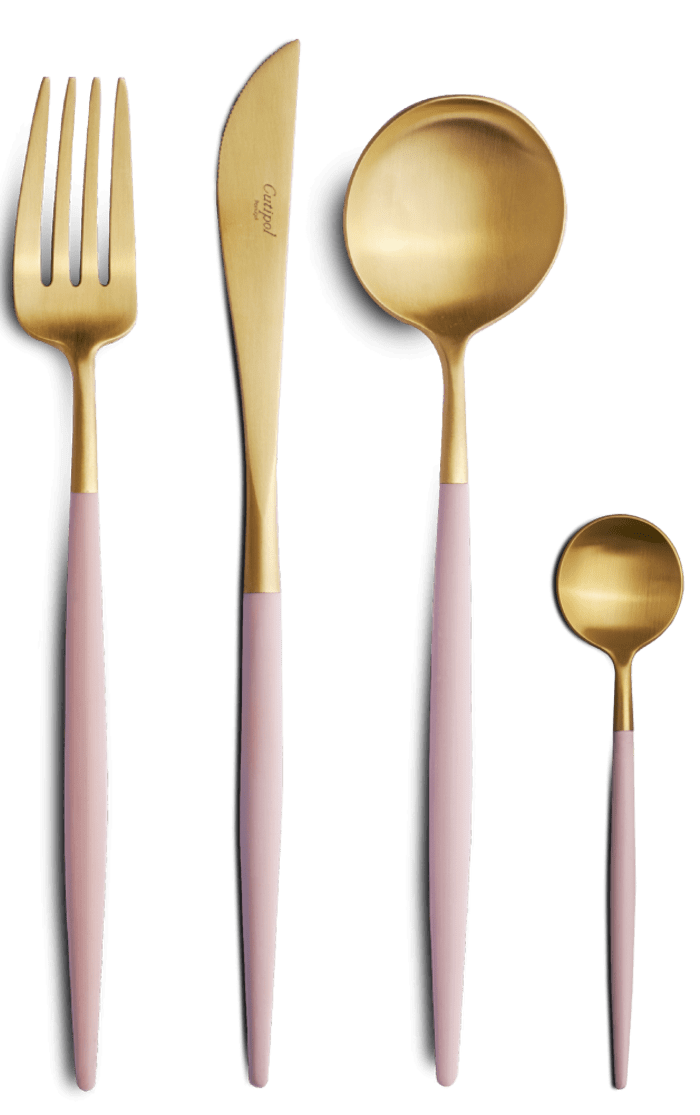 Minimalist and modern cutlery set; Goa by Cutipol.