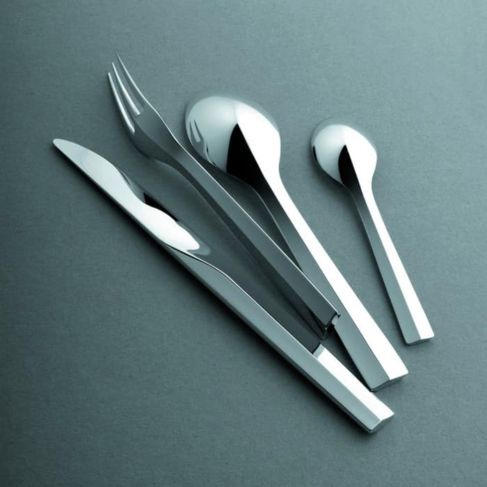 Minimalist cutlery set with geometric accent; Zermatt by Patrick Jouin.