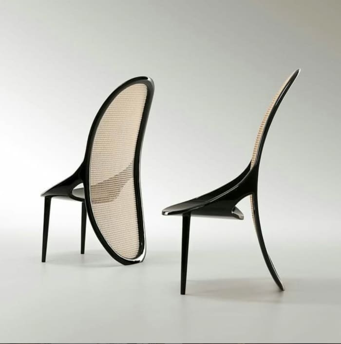 Wiener chair, example of modern Vienna straw design by Gabriella Asztalos.