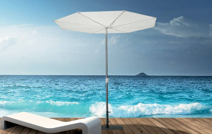 Revo sun umbrella is perfect for summer entertaining with a minimalist style