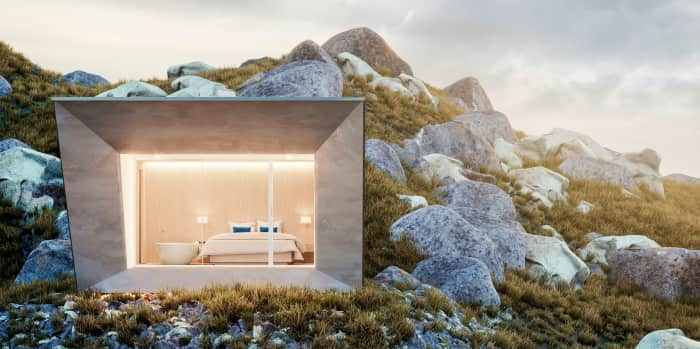 EDEN luxury portable suite installed in a remote mountain location. An example of sustainable living and energy efficiency.