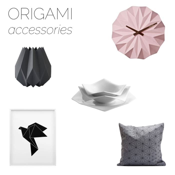 Moodboard of accessories with origami-inpired design.
