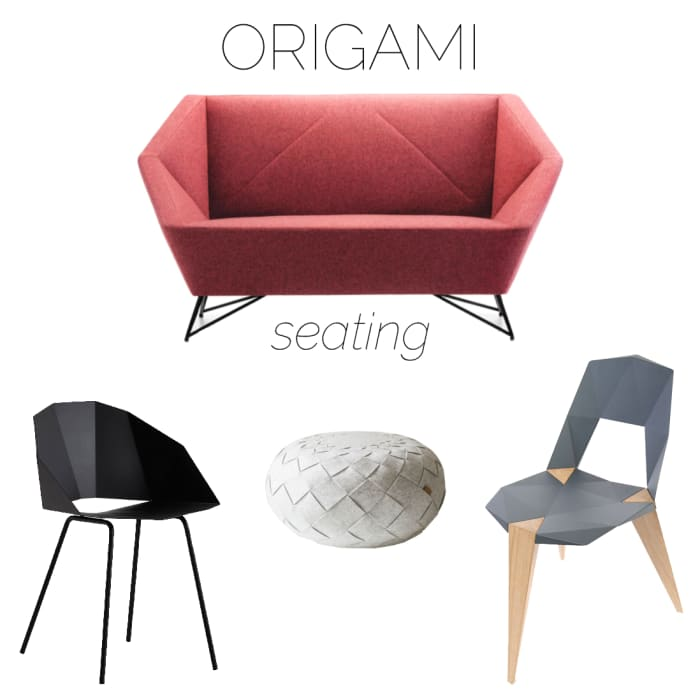 Moodboard of seating with origami-inpired design.