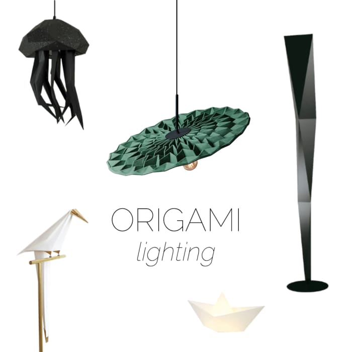 Moodboard of lighting with origami-inpired design.