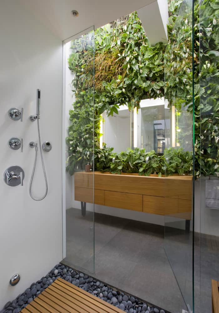 Modern bathroom with a garden wall design all around the vanity wall.