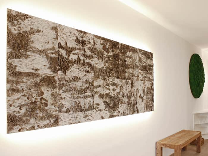 Birch bark wall artwork, a great example of biophilic design.