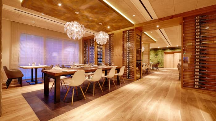 "Modern restaurant design with clear wood curved flooring.<span class=""sr-only""> (opened in a new window/tab)</span>"