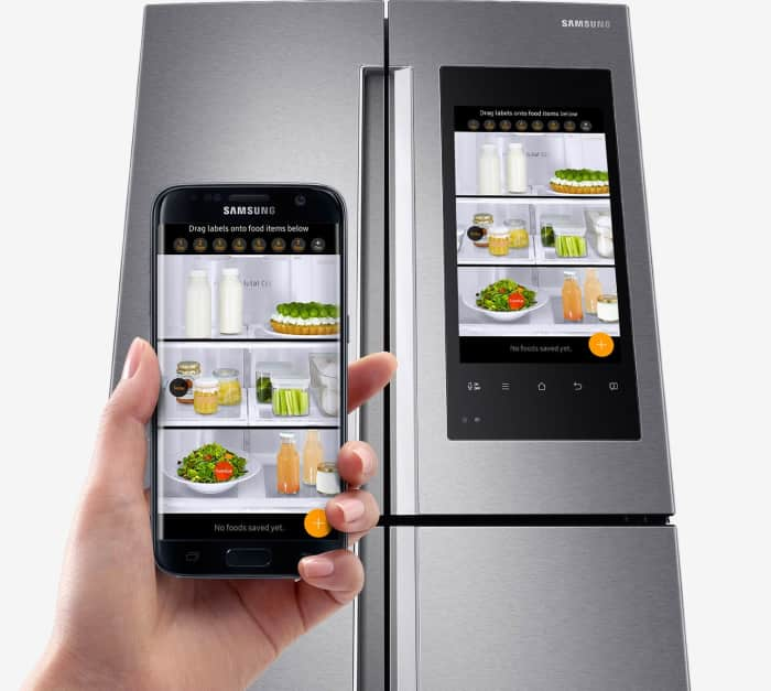 Smart kitchen innovations allow fridges to communicate with smartphones.